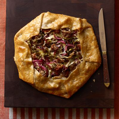Salchicha, Cabbage and Red Onion Galette