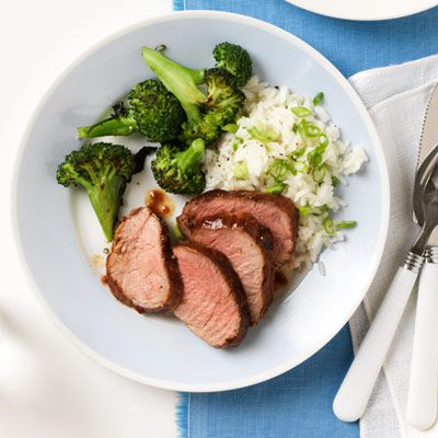 barbecue pork with broccoli and scallion rice