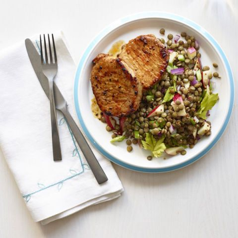 seared pork chops with lentil and apple salad