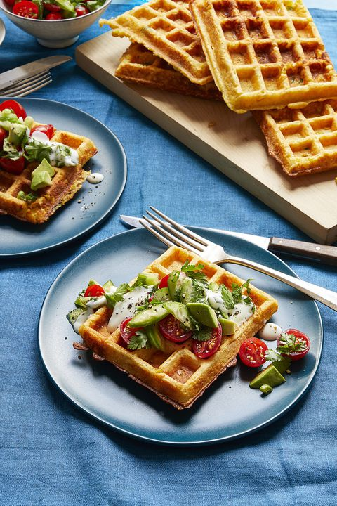 majs waffles with tomato herb salad